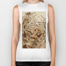 Cape Town South Africa City Street Map Biker Tank