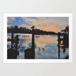 Sunset at the Boat Dock Art Print