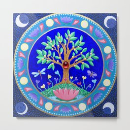 Tree of Love July Mandala Metal Print