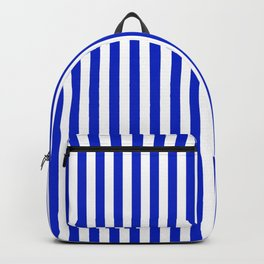 Cobalt Blue and White Vertical Deck Chair Stripe Backpack