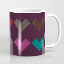 leather geometric love on dark purple Coffee Mug