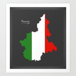 Piemonte map with Italian national flag illustration Art Print