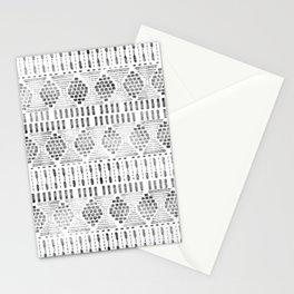 Aztec I Pattern Black and White Stationery Cards