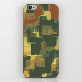 green and brown square painting abstract background iPhone Skin