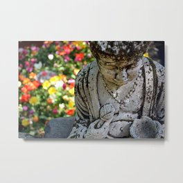 Peaceful Buddha In Tulip Fields Metal Print