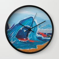 carnage Wall Clocks featuring Simulating   a carnage by Lázaro Hurtado Art