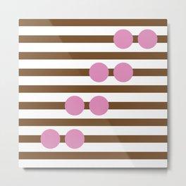 Geometric Stripe & Spot Large Brown & Pink Metal Print