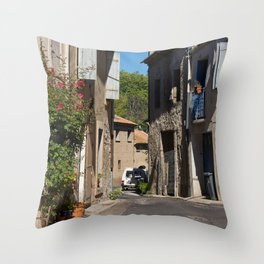 street in southern france, colombiers Throw Pillow