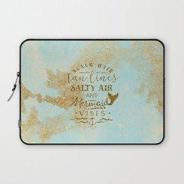 Beach - Mermaid - Mermaid Vibes - Gold glitter lettering on teal glittering background Laptop Sleeve