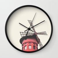 moulin rouge Wall Clocks featuring Moulin by LoR.