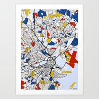 boston map Art Prints featuring Boston Mondrian map by Mondrian Maps