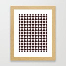 Small Diamonds - White and Dark Sienna Brown Framed Art Print