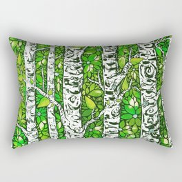 Green Birch Forest Rectangular Pillow