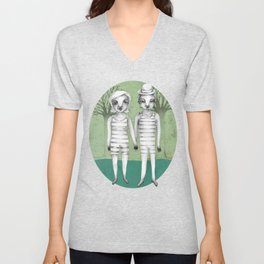 gymnast couple in the forest Unisex V-Neck