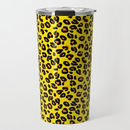 Lemon Yellow Leopard Spots Animal Print Pattern Travel Mug