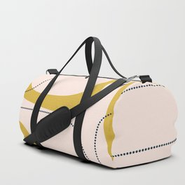 Retro Loops and Dots Midcentury Modern Pattern in Pale Blush Pink, Light Mustard, and Navy Blue Duffle Bag