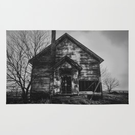 School's Out - Abandoned Schoolhouse in Iowa in Black and White Rug