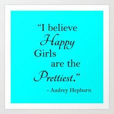 Happy Girls - blue and black Art Print