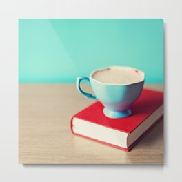 Red book and coffee Metal Print