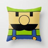luigi Throw Pillows featuring Minimal Luigi by pruine