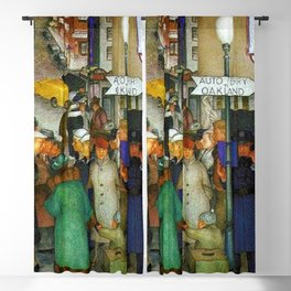 Ferry to Oakland San Francisco City Street Scene portrait painting WPA mural Blackout Curtain
