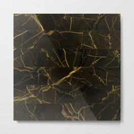 Slices Of Golden Marble Metal Print