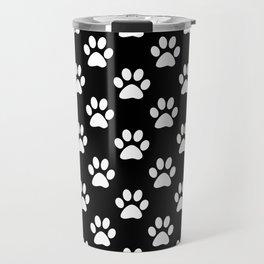White paws pattern on black Travel Mug