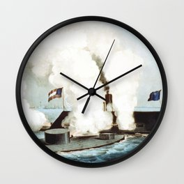 Battle Of The Monitor And Merrimack Wall Clock