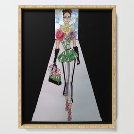 FLORA CATWALK COUTURE ILLUSTRATION BY JAMES THOMAS RYAN Serving Tray