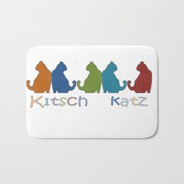 Kitsch Cats Silhouette Cat Collage Pattern Isolated  Bath Mat
