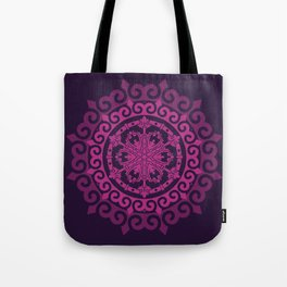 Pink Mandala on Dark Purple Tote Bag