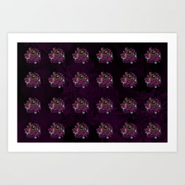 Pattern with Purple Jewelery Brooches Art Print