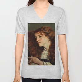 Gustave Courbet - Jo, the Beautiful Irishwoman - Jo, la belle Irlandaise Unisex V-Neck
