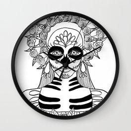 La Calavera Catrina Sugar Skull Ink Drawing Wall Clock