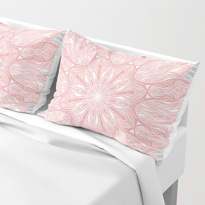 MANDALA IN GREY AND PINK Pillow Sham