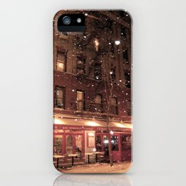 Cornelia St Cafe in the snow iPhone Case