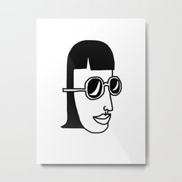 Girl, Simple line, Sunglasses Metal Print