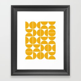 Mid Century Modern Geometric 04 Yellow Framed Art Print