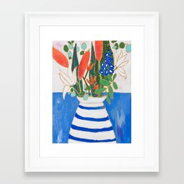 Nautical Striped Vase of Flowers Framed Art Print