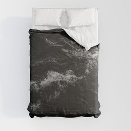 Dark Ocean in Black and. White Comforters