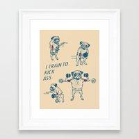 workout Framed Art Prints featuring Pug Workout by Huebucket