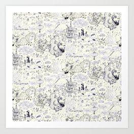 Chinoiserie pattern with dragons, bats, pagodas Art Print