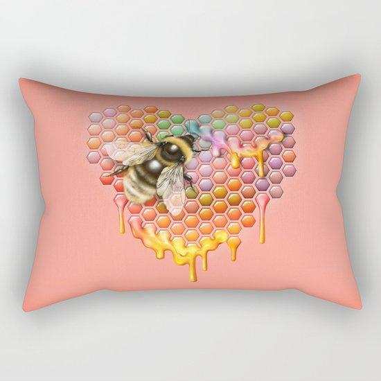 valentines heart, bumblebee, beehive Rectangular Pillow