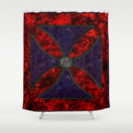 Malta Cross in Coloured Marble Shower Curtain