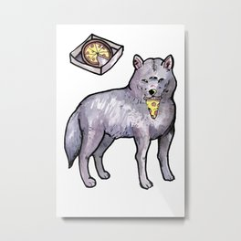wolf eating a pizza Metal Print