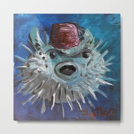 Puffer Fish with Fez Metal Print