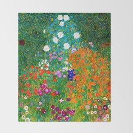 Gustav Klimt - Flower Garden Throw Blanket