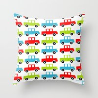 cars Throw Pillows featuring cars by laura mendoza v.