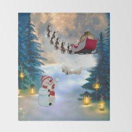 Christmas, snowman with Santa Claus Throw Blanket