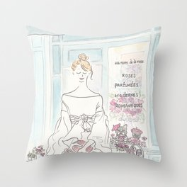 Sweet French Bulldogs in Paris Flower Shop Throw Pillow